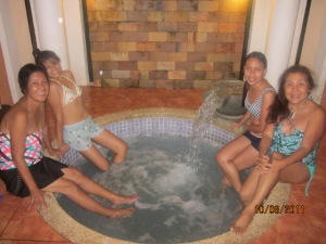 Bonding with sister and nieces in the Jacuzzi, Bacolod City, Phil.